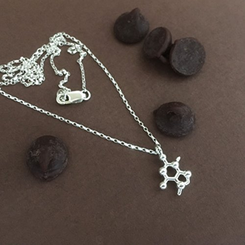 Petite Theobromine Chocolate Molecule Necklace in solid sterling silver