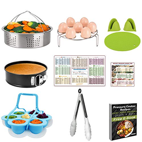 Pressure Cooker Accessories Set 10 Pcs- Fit 5,6,8 Quart (Qt) Instant Pot - Steamer Basket,Non-stick Spring Form Pan,Egg Bites Molds With Handles,Egg Steamer Rack,Tongs, Magnetic Sheet, Recipes E-Book