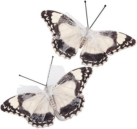 Packung 14 Creme Geprägt Stoff Schmetterlinge Creme Schmetterling Verzierungen