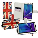 Emartbuy® Samsung Galaxy Note 5 Premium PU Leather Desktop Stand Wallet Case Cover Pouch Union Jack with Credit Card Slots