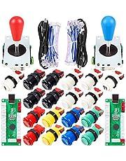 EG STARTS 2 Player Arcade Joystick DIY Parts 2X USB Encoder + 2X Ellipse Oval Joystick Hanlde + 18x American Style Arcade Buttons for PC, MAME, Raspberry Pi, Windows System Mix Color Kit