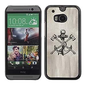 PC/Aluminum Funda Carcasa protectora para HTC One M8 axe anchor paper sketch pencil ink tattoo / JUSTGO PHONE PROTECTOR