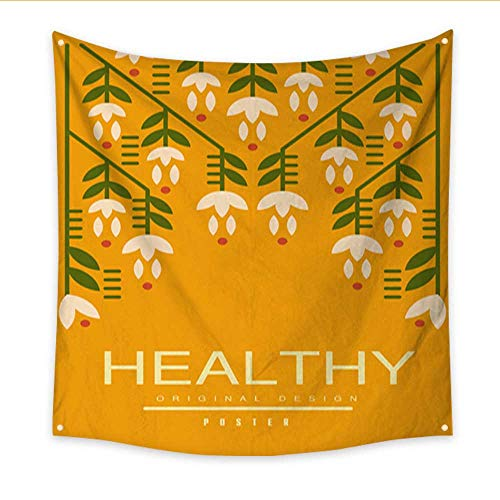 lthy Poster Original Design Ecological Template with Flowers for Card Banner Flyer Invitation brochure Healthy Lifestyle conce Blanket Home Room Wall Decor 70W x 70L Inch ()