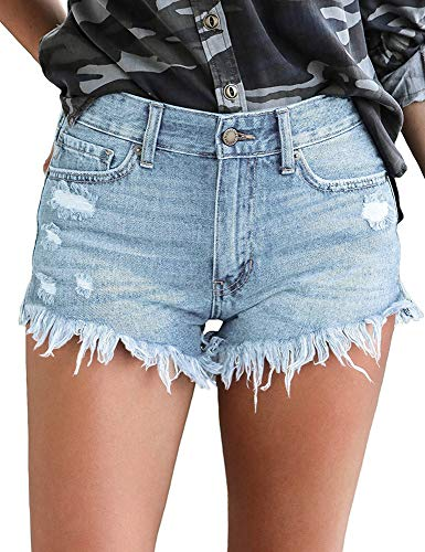 Luyeess Women's Mid Rise Frayed Jean Shorts Distressed Raw Hem Ripped Destroyed Denim Shorts Hot Pants Light Blue, Size S(US 4-6)