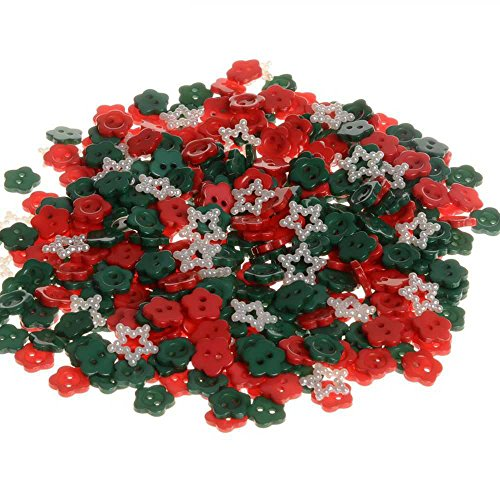BarFeer Top Quality Promotions Buttons 200 Pcs Flower Decorative Resin Scrapbook Mixed Christmas Color 2 Holes Sewing - Gun Promotions Top