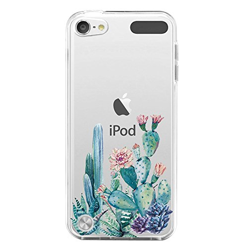 IPod Touch 5 Case,IPod Touch 5 Case for with Flower,LUOLNH Slim Shockproof Clear Floral Pattern Soft Flexible TPU Back Cover for Apple iPod touch 5th Generation(Cactus - Touch 5th Ipod Clear Case