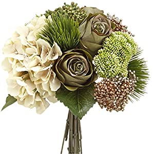"13"" Hydrangea, Rose & Amaryllis Silk Flower Bouquet -Eggshell/Green (Pack of 6) 63"