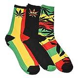 Mens Marijuana Leaf Socks Rasta Multicolored 3 Pairs, Size 6-12.5