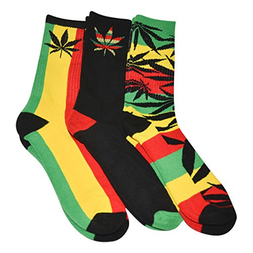 Mens Marijuana Leaf Socks Rasta Multicolored 3 Pairs, Size 6-12.5