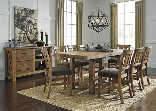 Tarmilr Casual Brown Color Rectangular Counter Table Set, Table, 8 Barstools And Server
