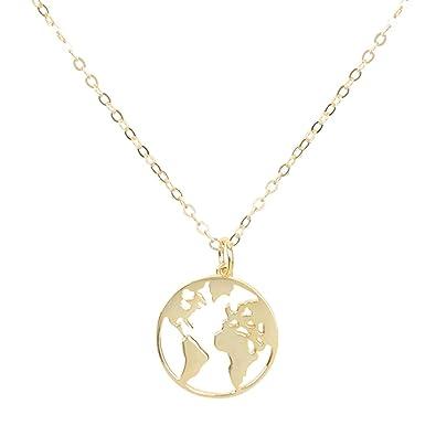 e490e7072601 joyliveCY Mapa del Mundo Collares Pendientes Wanderlust Personalizado Metal Moda  Collar Regalo para Mujer Hombre  Amazon.es  Joyería