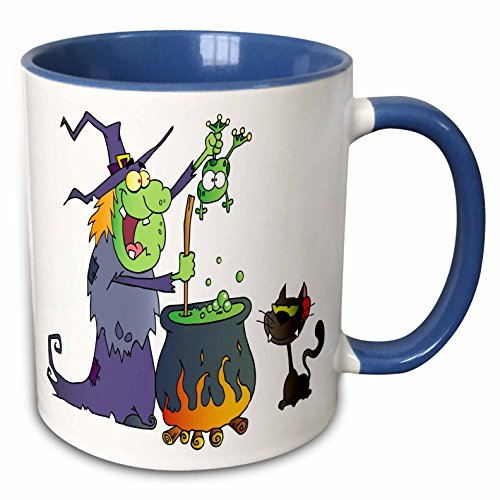 3dRose 131384_6 Halloween Witch and Cauldron Mug 11 oz Blue -
