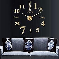 Besplore 3D Frameless Wall Clock,Large DIY Frameless,Modern Mute,Wall Decoration for Living Room Bedroom,Golden