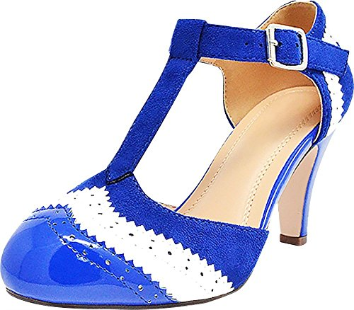 en's T-Strap Wingtip Style Closed Toe Cut Out Mid Heel Dress Pump (9 B(M) US, Navy/White) ()