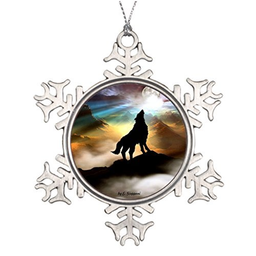 - Xmas Trees Decorated Wolf Christmas Balls Snowflake Ornaments Christmas Snowflake Ornaments