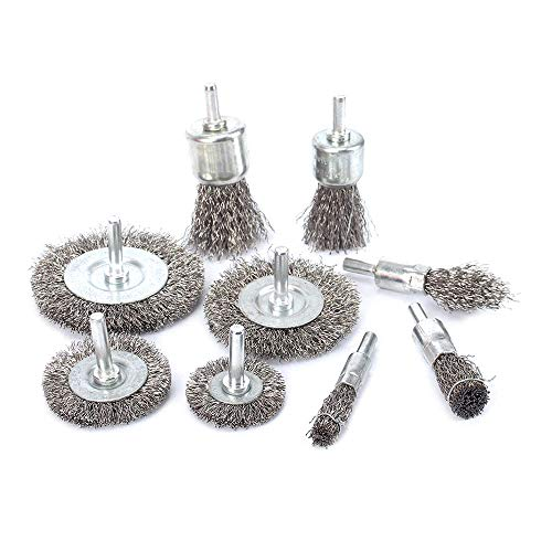 9Pcs Stainless Steel Wire Brushes Wheel kit for Drill with 1/4