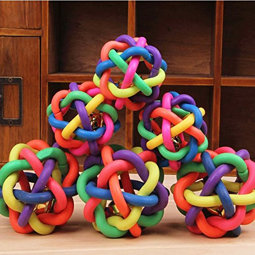 GreatFun 1Pc Colorful Soft Bell Plastic Ball Durable Fetch Chew for Pet Dog Puppy Toy