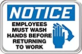 Accuform Signs 6'' X 9'' Black, Blue And White 0.135'' Deco-Shield Acrylic Plastic Architectural Sign''NOTICE EMPLOYEES MUST WASH HANDS BEFORE RETURNING TO WORK (With Graphic)''