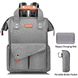 Large Diaper Bag Backpack, Anti-Water Maternity Nappy Bags Changing Bags with Insulated Pockets and Stroller Straps, Multi-Functional Travel Back Pack,Grey