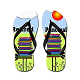 Difflamply Retired Principal - Flip Flops, Funny Thong Sandals, Beach Sandals Black