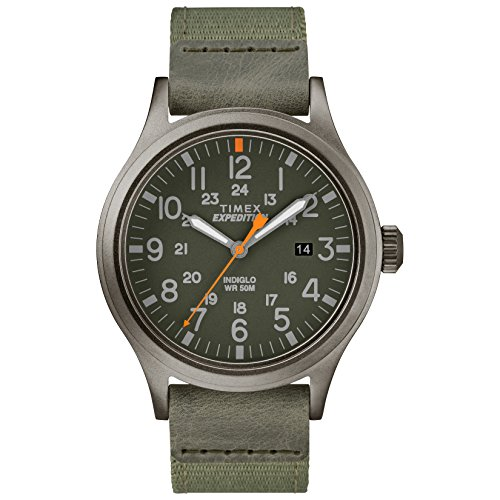 Timex-Mens-TW4B14000-Expedition-Scout-40-GreenGray-LeatherNylon-Strap-Watch