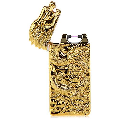 Kivors Dragon Lighter USB Rechargeable Battery Windproof Plasma Arc Pulse Electronic Metal Cigarette Lighter, Shake to Induction Lighter