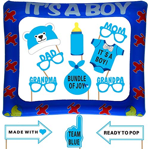 Baby Shower Photo Booth Props with Inflatable Picture Frame Included - NO DIY REQUIRED Attached to the stick - Baby Boy Decorations- Extra Large - 23 Count