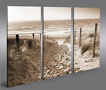 Bild Bilder auf Leinwand Weg zum Meer Sepia Nordseestrand 3p XXL ...