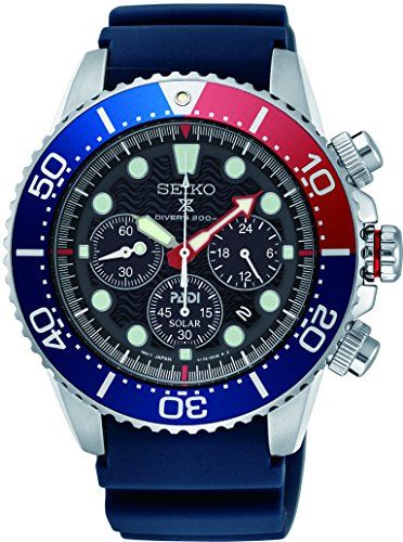 (SEIKO PROSPEX PADI Special Edition Chronograph Solar Diver's 200M Pepsi Bezel SSC663P1)