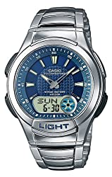 Casio AQ-180WD-2AVES Gents Watch Quartz Analogue Blue Dial Silver Steel Strap