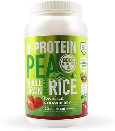 Goldnutrition V-Protein 1kg, Fresa, Proteína Vegetal