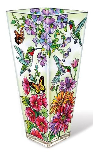 Amia 10-Inch Glass Vase Hand-Painted Hummingbird Design Hand Painted Vases
