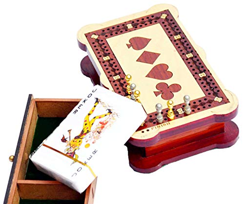 Cribbage Box 2 Track - Wooden Travel Cribbage Board - Inlaid in Bloodwood / Maple Wood with Storage Space for Cribbage Pegs - 60 Points - Non ()