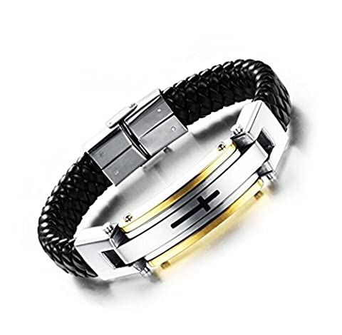 Mens Stainless Steel Leather Bracelet Cross Classic Braided Cuff Bangle Wrist Band by Feraco,Gold (Gold Cross Stainless Steel)