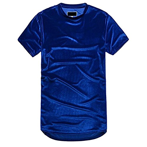 VFIVE UNFOUR Mens Velvet Velour Fashion Hip Hop Long Line Hem T Shirts Wine Blue 2XL