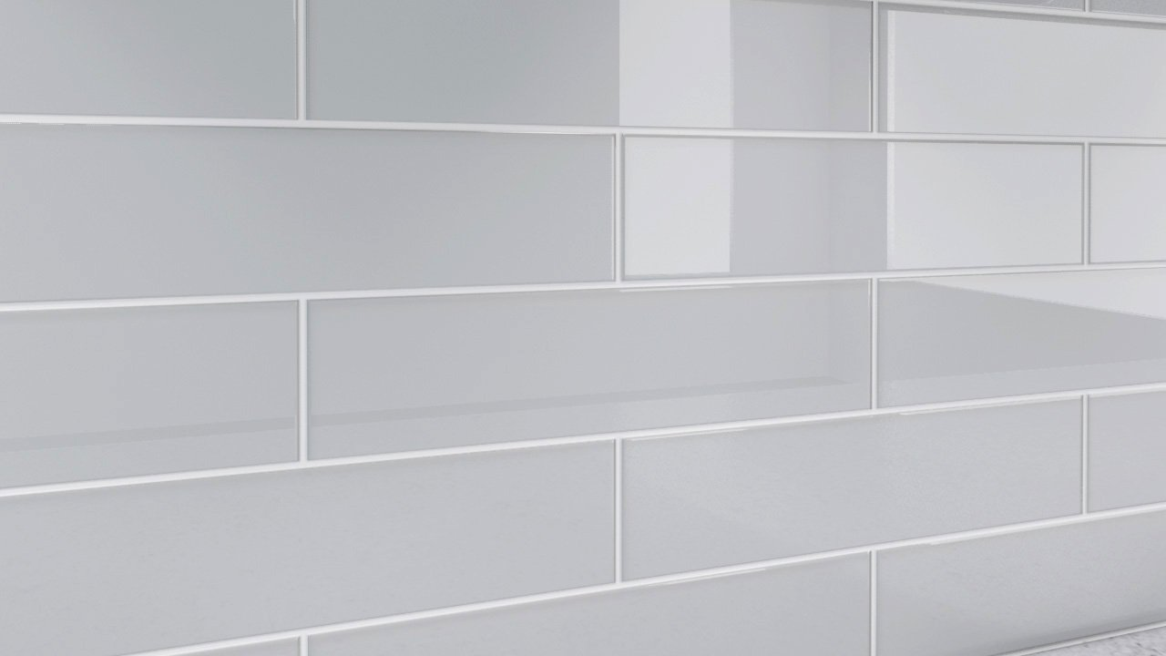 Light Gray Glass Tile for Showers and Kitchens by Bodesi 3x12