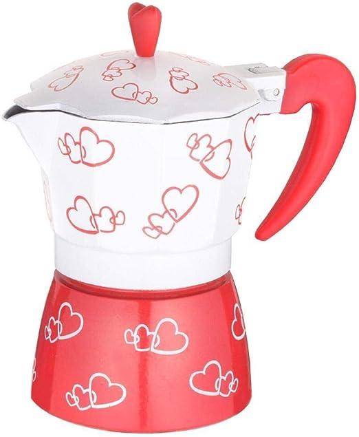 Lcjtaifu Cafetera con Corazón Rojo Impreso Aleación De Aluminio Espresso Mocha Café Olla Kit: Amazon.es: Hogar