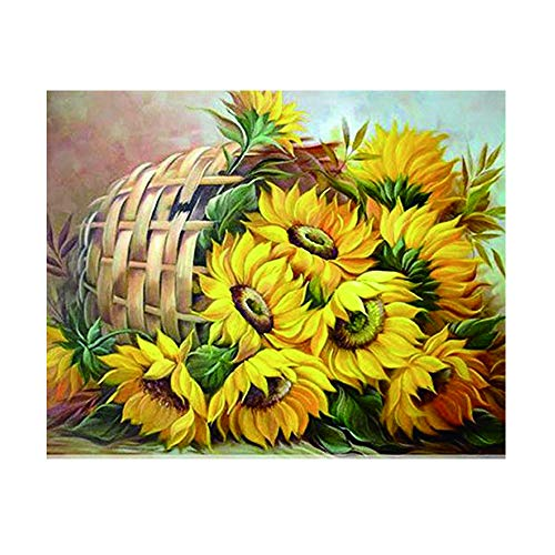 DIY 5D Diamond Painting by Number Kits, Full Drill Round Diamond Embroidery Sunflower Cross Stitch Home Wall Décor Arts Craft Canvas,15.75 x 11.81 inch