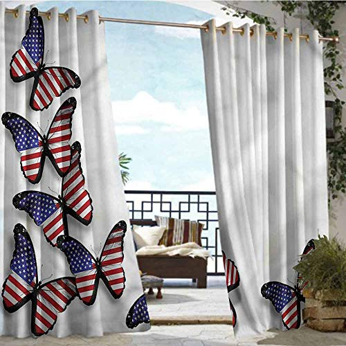 crabee Outdoor- Free Standing Outdoor Privacy Curtain Americana,Flag Flying Butterflies,W96 xL84 for Front Porch Covered Patio Gazebo Dock Beach Home
