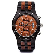 Bewell Wooden Watch Multi Function Stopwatch Fashion Style Wristwatch for Men W109D