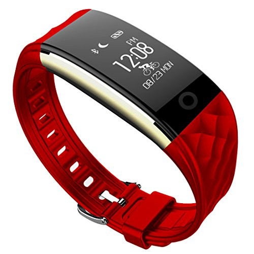 Kids Fitness Tracker, Waterproof Cycling Sport Wristband with Heart Rate Monitor for School Student and Teenager, Red