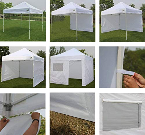 Eurmax 10'x10' Ez Pop Tent Commercial Instant Canopies with 4 Removable Zipper End Side Walls and Roller Bag Bonus 4 SandBags Weight, 1-White