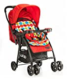 LuvLap Joy Stroller/Pram, Compact and Easy Fold, for Newborn Baby/Kids, 0-3 Years (Printed Red)