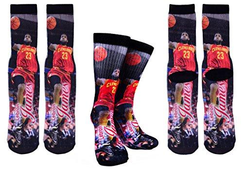 Forever Fanatics Cleveland James #23 Ultimate Basketball Fan Gift Set Bundle ✓ James #23 Crew Socks Sizes 6-13 ✓ Matching James #23 Jersey Drawstring Backpack Gym Bag (Size 6-13, James #23 Gift Set) ()