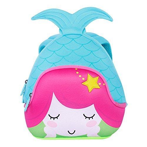 3D Mermaid Toddler Kids Backpack, LYCSIX66 Waterproof Neoprene Preschool Bag Travel Daypack for Baby Girl 2-6 Years, blue -