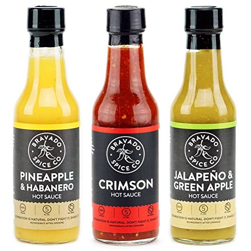 Bravado Spice Co. Hot Sauce 5 oz Bottles Gift Set (PINEAPPLE + CRIMSON + JALAPEÑO)