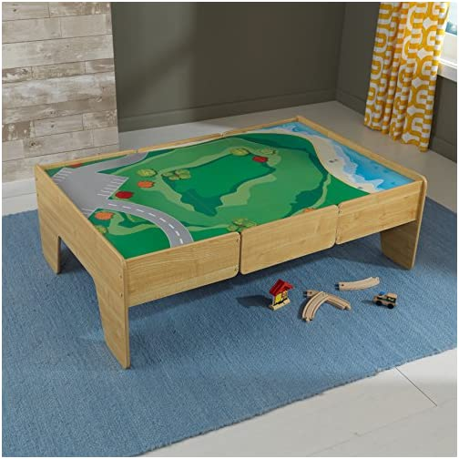 KidKraft Wooden Play Table Train Table,Natural