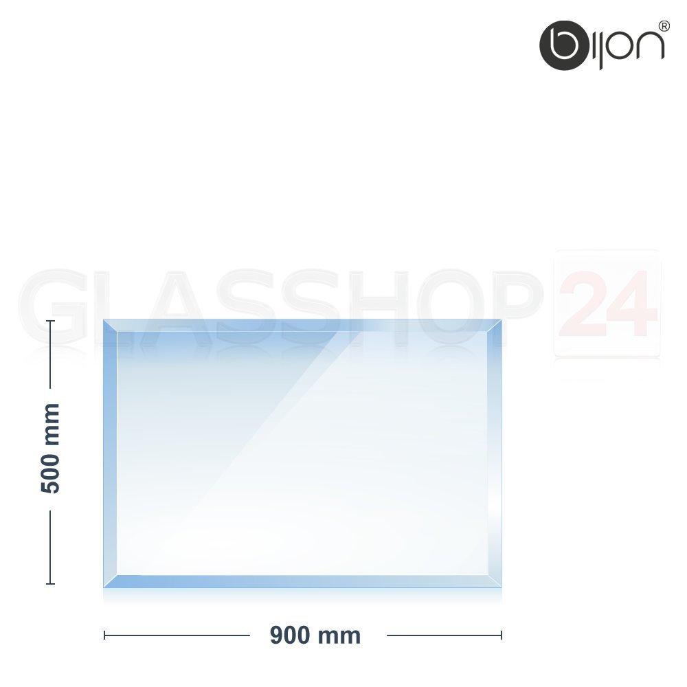 18mm Facette 6mm Kamin Glasbodenplatte Rundbogen 1100x850x6mm bijon/®
