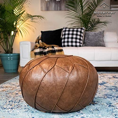 Moderner Faux Leather Pouf Unstuffed Ottoman Moroccan Footstool