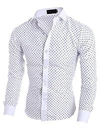 Elonglin Men Five-Pointed Star Printed Shirt Long Sleeve Dress Shirt Regular Fit